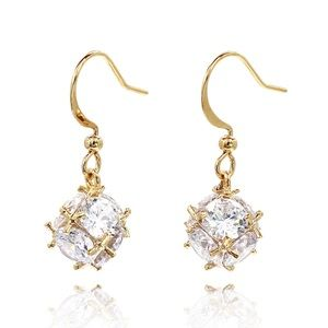 Gold Lady crystal ball earrings